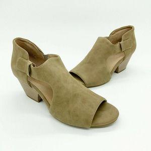 Naturalizer Daya Cutout Ankle Boots Open Toe Tan